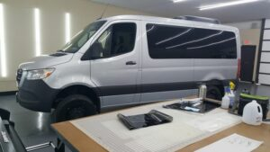 van with brand new window tinting