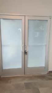 door with frosted windows for privacy