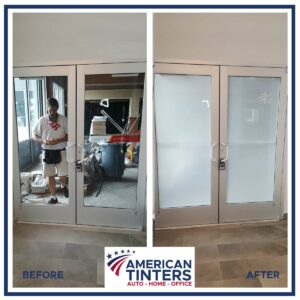 Before and After of commercial doors with privacy film added