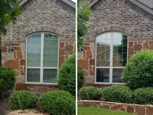 before and after window tinting of a home