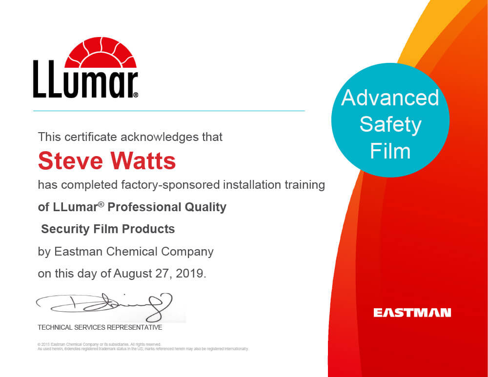 Certificate acknowledging that Steve Watts has completed factory-sponsored installation training of LLumar Professional Quality Security Film Products