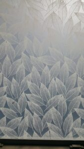 window film with decorative leaves